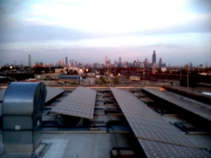 View of Chicago from the roof of the Green Technology Center
